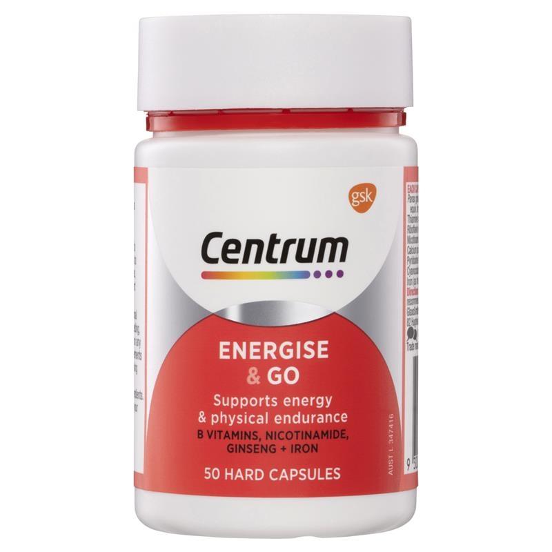 Vitamin tổng hợp Centrum Energise & Go 50 Capsules