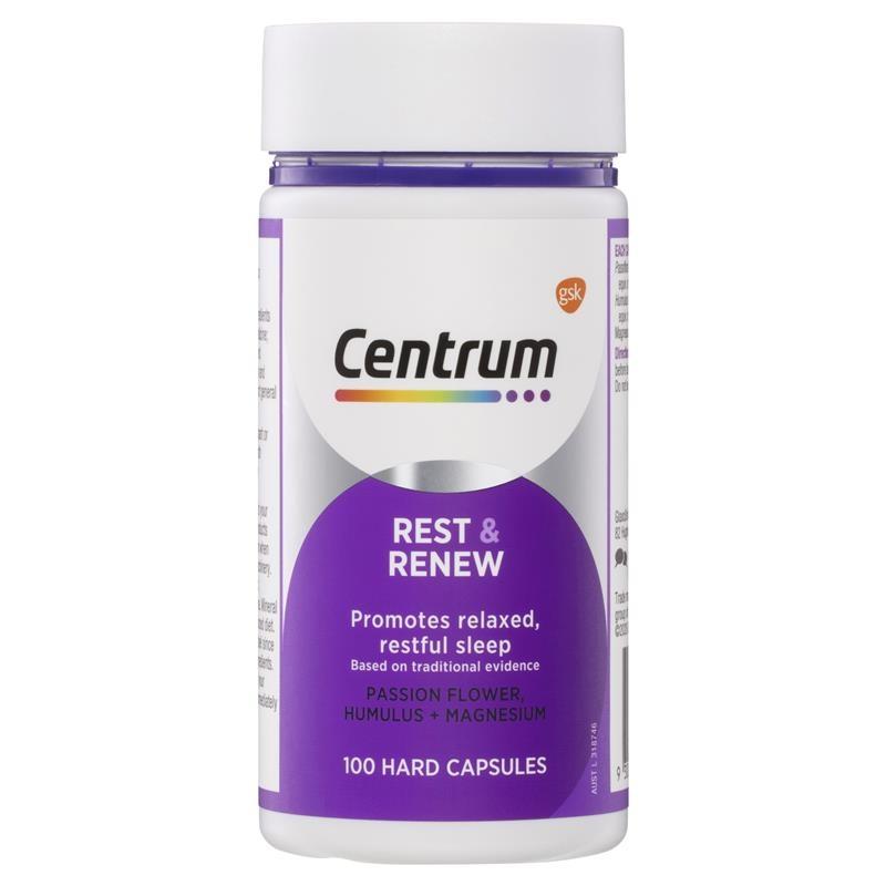 Viên uống hỗ trợ giấc ngủ Centrum Rest & Renew 100 Capsules