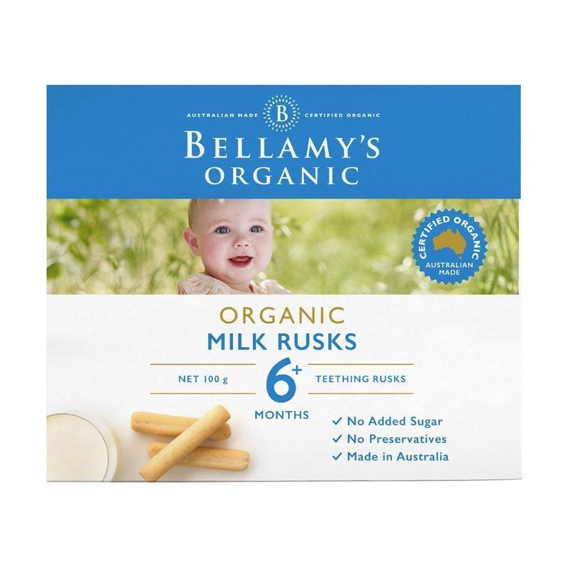 Bánh quy ăn dặm Bellamy's Organic Milk Rusks 100g