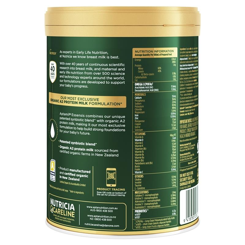 Aptamil Essensis Organic A2 Protein Milk 1 Premium Infant Formula From Birth to 6 Months 900g