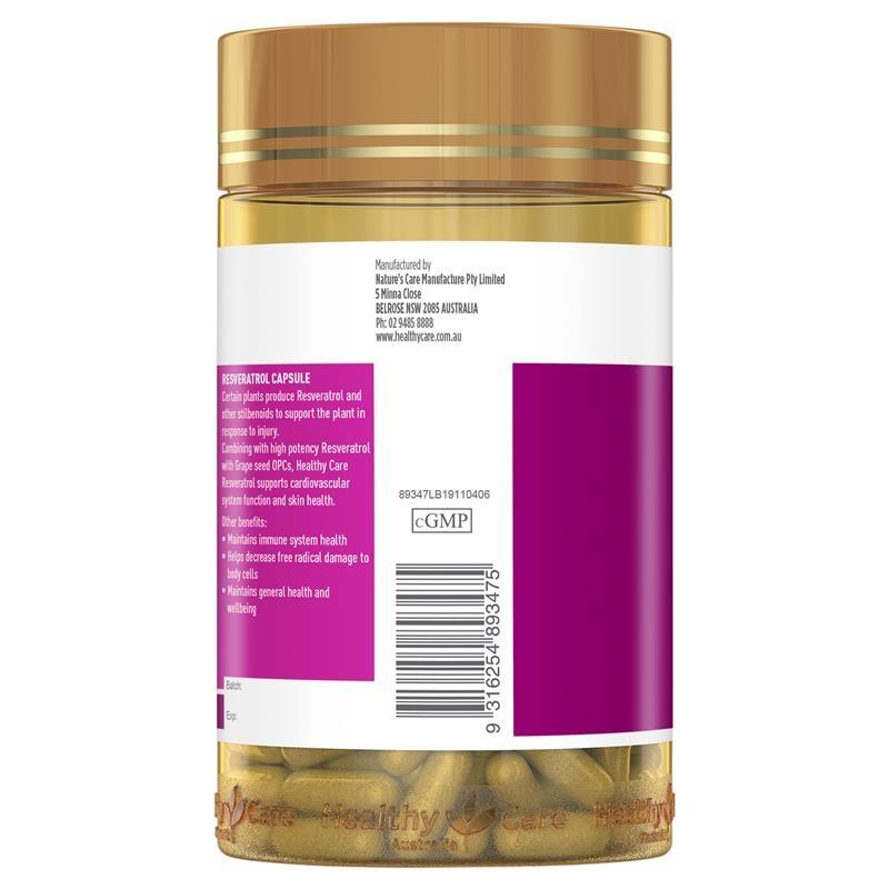 Healthy Care Resveratrol 180 Capsules