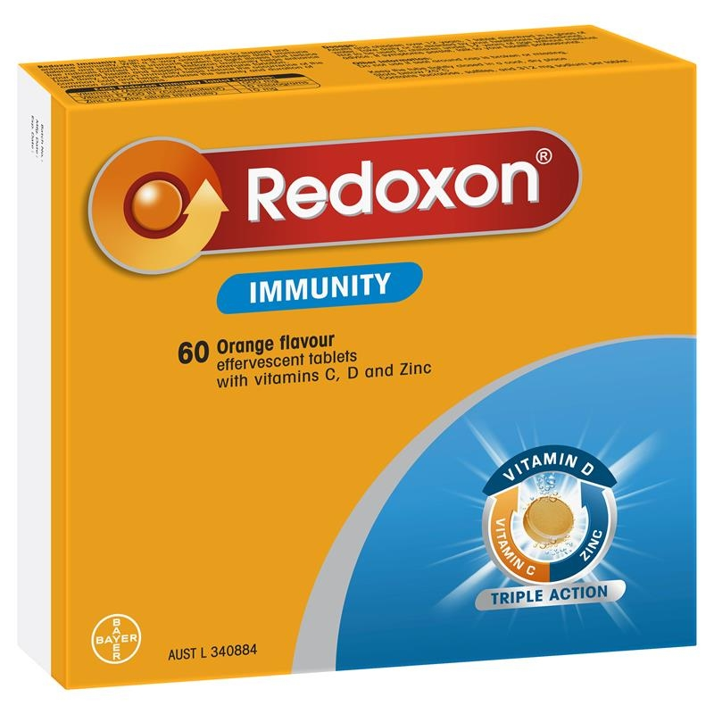 Redoxon Immunity Vitamin Orange Flavoured Effervescent Tablets 60 Pack Exclusive Size