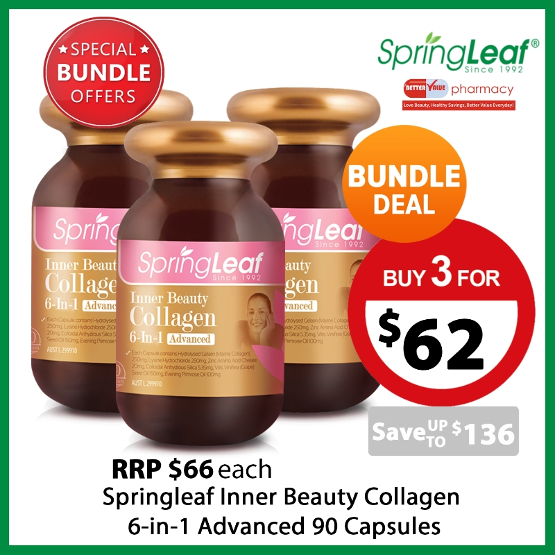 Springleaf Inner Beauty Collagen 6-in-1 Advanced 90 Capsules x3 Special Bundle