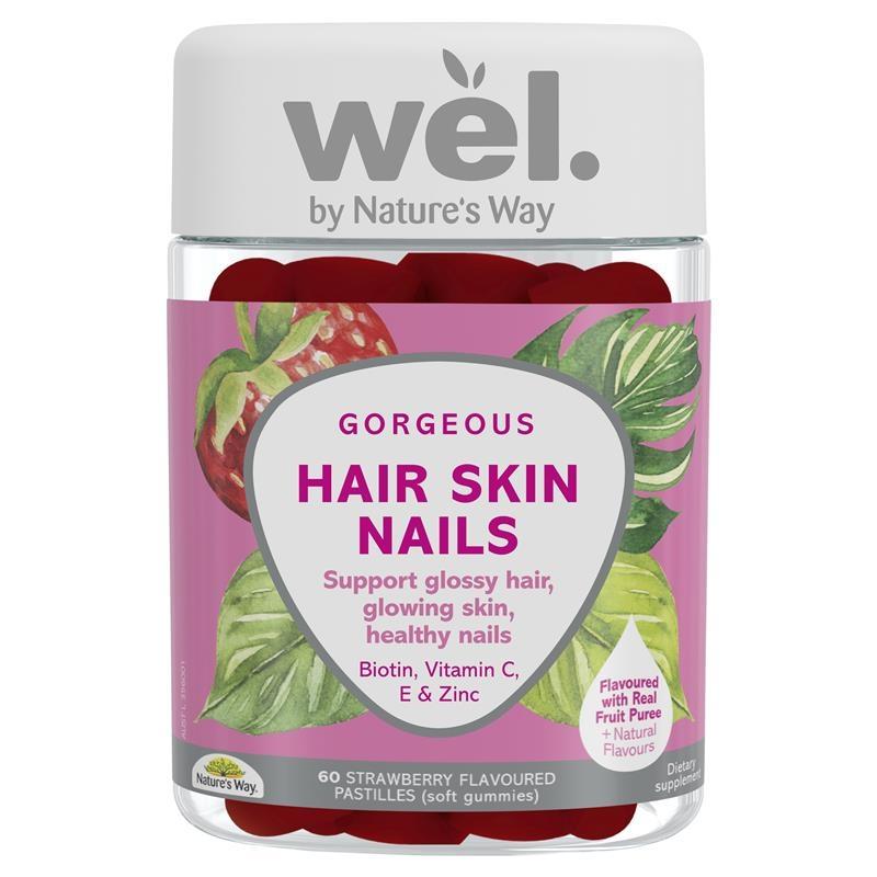 Kẹo dẻo tóc, da, móng Natures Way Wel. Hair Skin Nails Gummies 60 Gummies