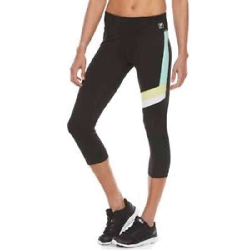 FILA THỂ THAO Kích thước Sọc ngang màu đen nhỏ Capri Mid Rise Leggings Athletic NWT