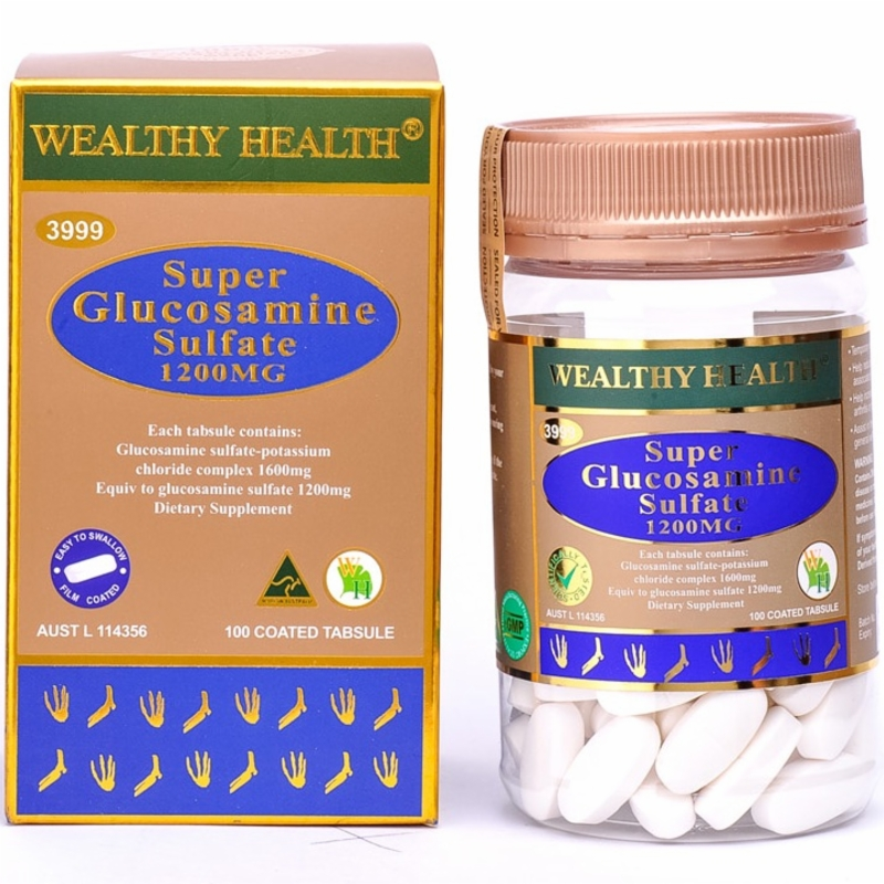 Wealthy Health Super Glucosamine Sulfate 1200mg 100 Tabsules