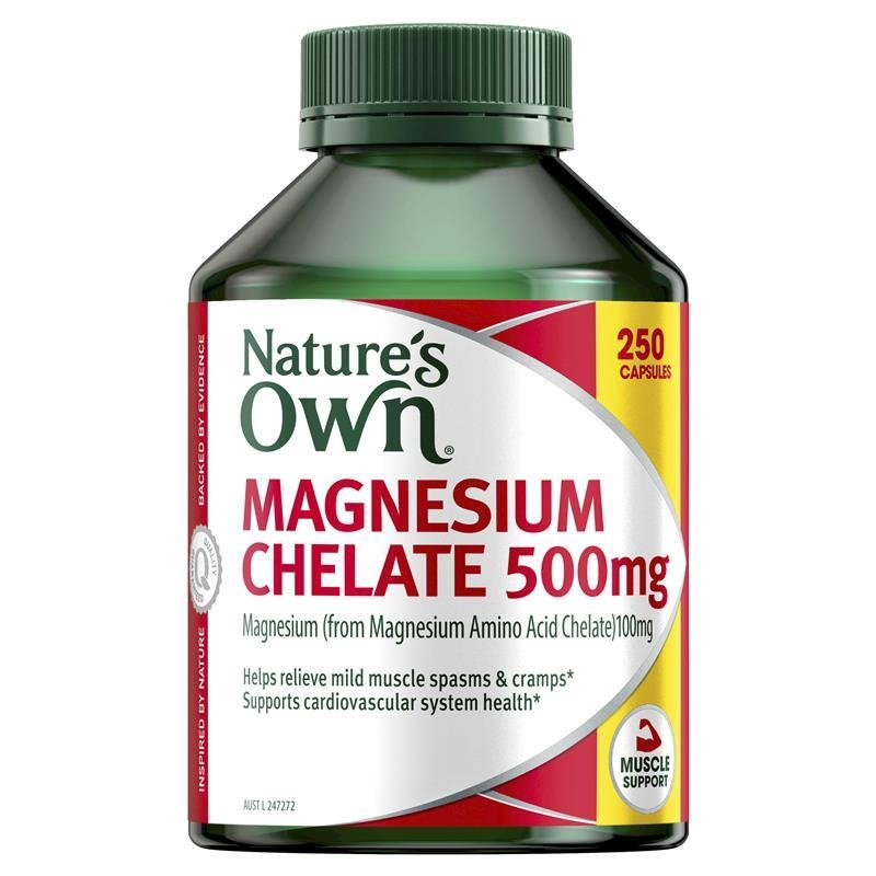 Natures Own Magnesium Chelate 500mg 250 Capsules Exclusive Size