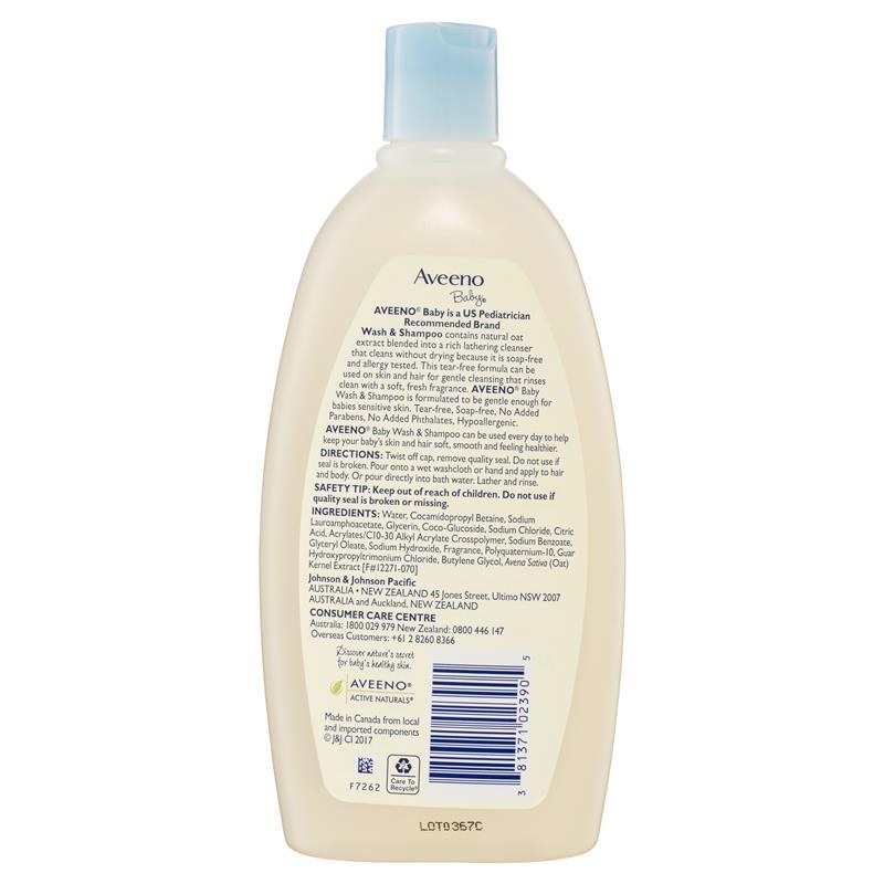 Aveeno Baby Daily Moisture Lightly Scented Wash & Shampoo 532mL