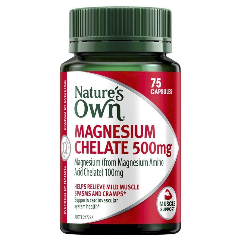 Nature's Own Magnesium Chelate 500mg 75 Capsules