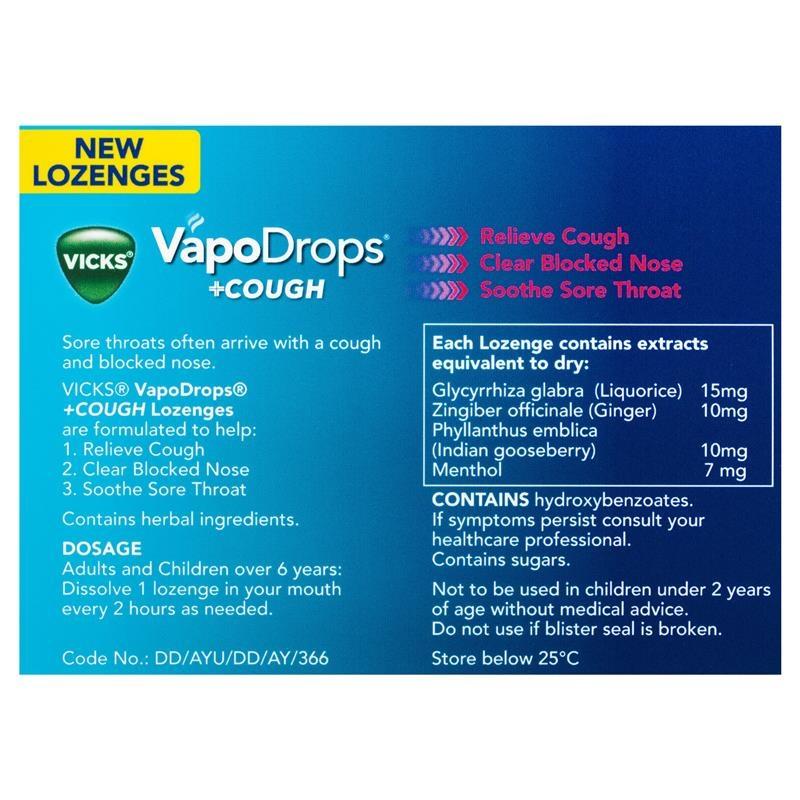 Vicks VapoDrops + Cough Berry Menthol 16 Lozenges