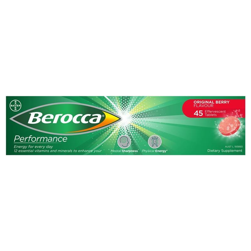 Berocca Energy Vitamin Original Berry Effervescent Tablets 45 pack