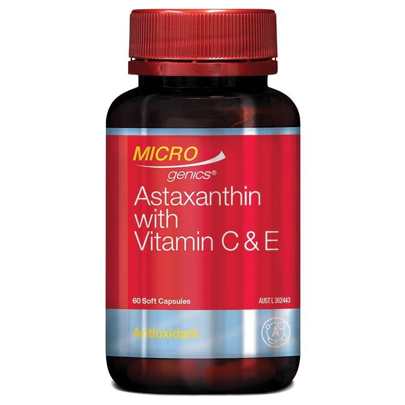 Microgenics Astaxanthin High Strength With Vitamin C & E 60 Capsules